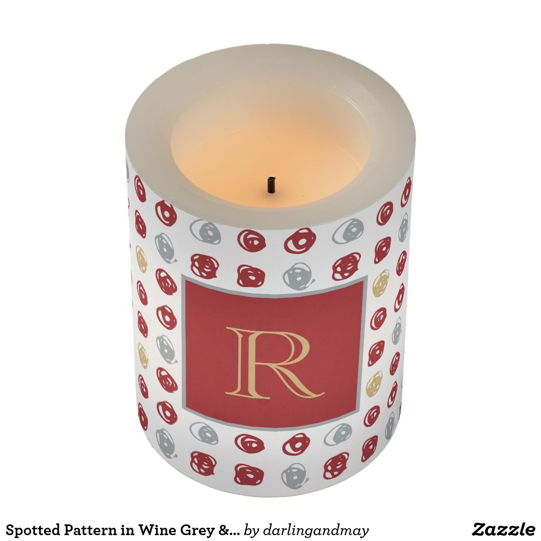 Monogram Flameless Led Candle With Abstract Spotted Pattern In Red Wine Blue Gray Honey Candles Ledcandles F Flameless Led Candles Spots Pattern Candles