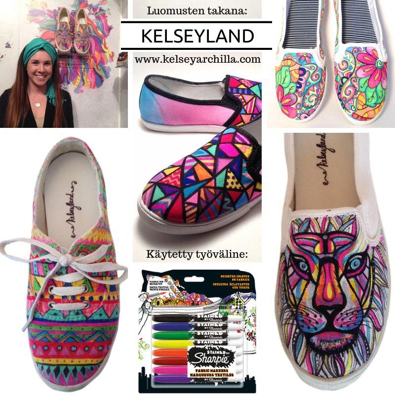 Sharpie Stained -tekstiilimerkkauskynillä luot persoonallisia taideteoksia jopa kengistä. Näiden upeiden luomusten takana on nuori New Yorkilainen taiteilja Kelsey Archila, joka on tehnyt kenkien tuunaamisesta todellista taidetta. || Shoes: Kelseyland by Kelsey Archila #kelseyland #sharpie #stained #fabricmarkers #tussi #tussit #tekstiilitussit #art #handpainted #shoes