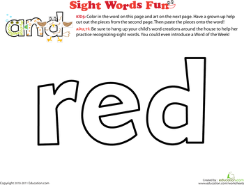 sight word coloring pages kindergarten - photo#35