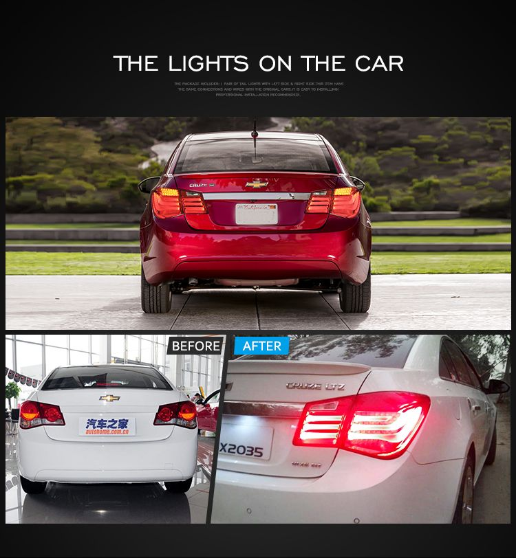 High Quality Led Tail Light For Cruze 2010 2014 Red Back Lamp