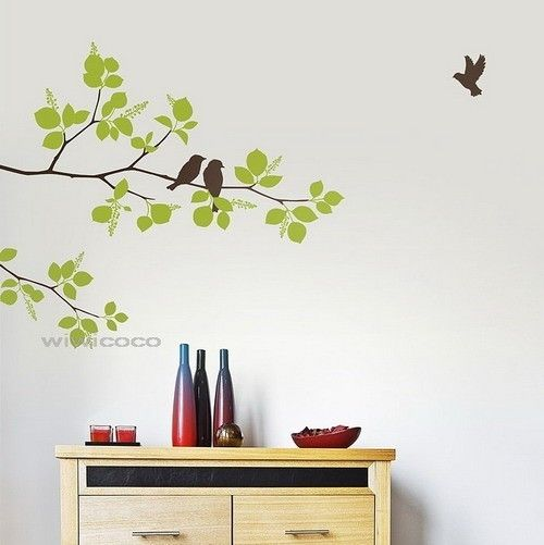 Painting Birds On A Wall Birds On Branches 85inchesremovable Wall
