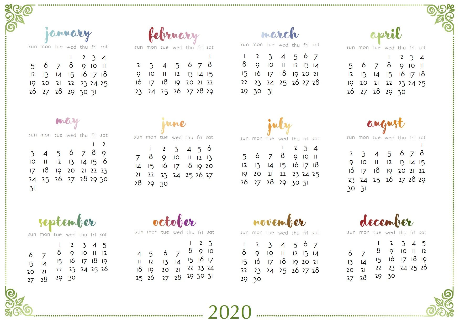 2020 And 2021 Gradient One Sheet Calendars As Requested 2020 Calendars Calendar Project Life Cards