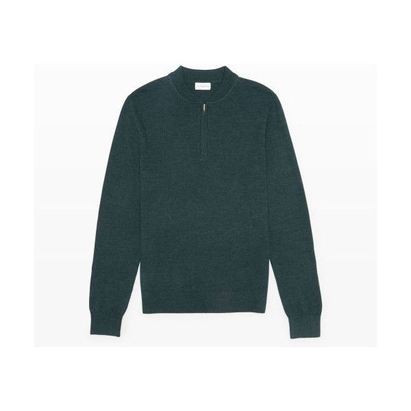 Club Monaco Merino Quarter-Zip ($39) ❤ liked on Polyvore featuring mens, men's clothing, men's sweaters and forest green