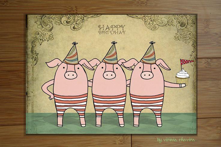 tarjeta de cumpleaños antigua de diseño a rayas retro | imagenes de ...