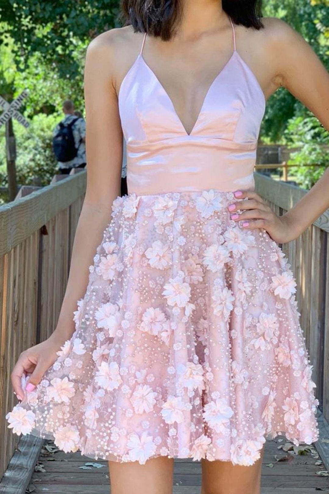 Princess Straps Short Pink Party Dress Short Pink Party Dresses Pink Party Dresses Pink Homecoming Dress [ 1620 x 1080 Pixel ]