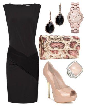 Accesorios y zapatos para vestido negro corto