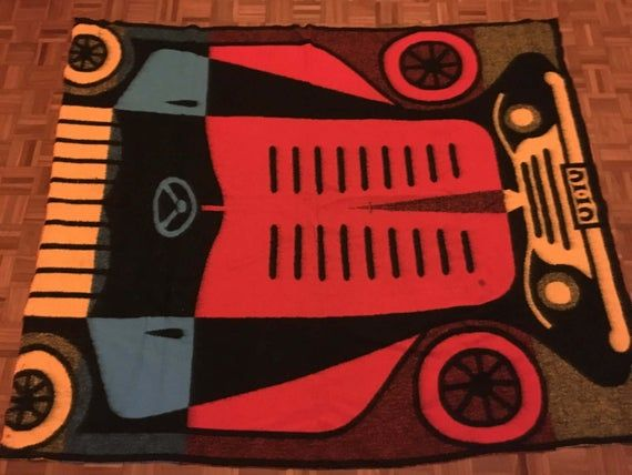 Vintage 1960s Wool Picnic Blanket with Classic Car Design