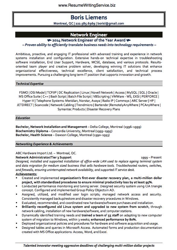 Get Network Engineer Resume Sample Here Network Engineer Resume Writing Services Resume Examples
