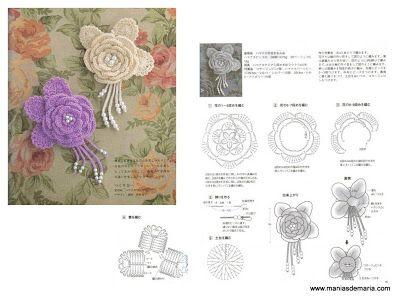 Flores em Croche e gráficos -