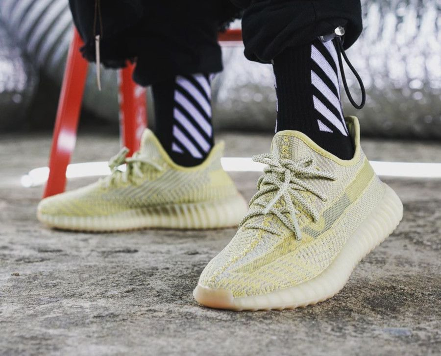 Adidas Yeezy Boost 350 V2 Triple White Cream On Feet