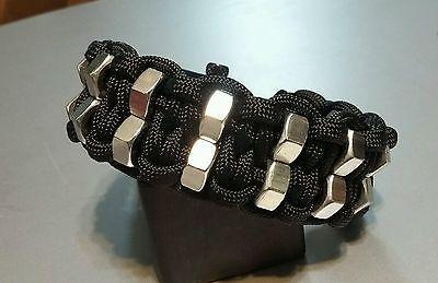 Custom Double Hex Nut Paracord Bracelet With Black Adjustable