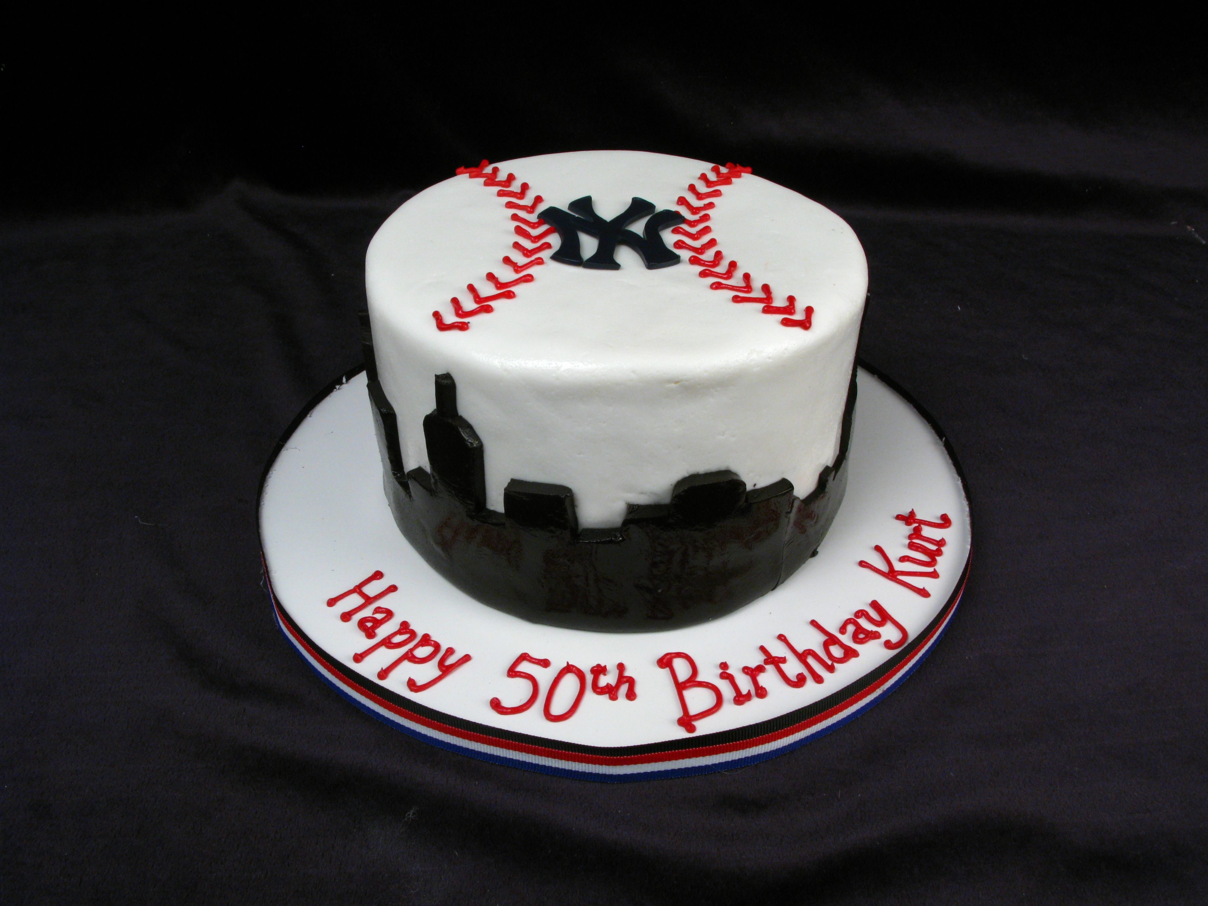 Yankees Nyc Birthday Cake Baseball Ny Yankee Cake