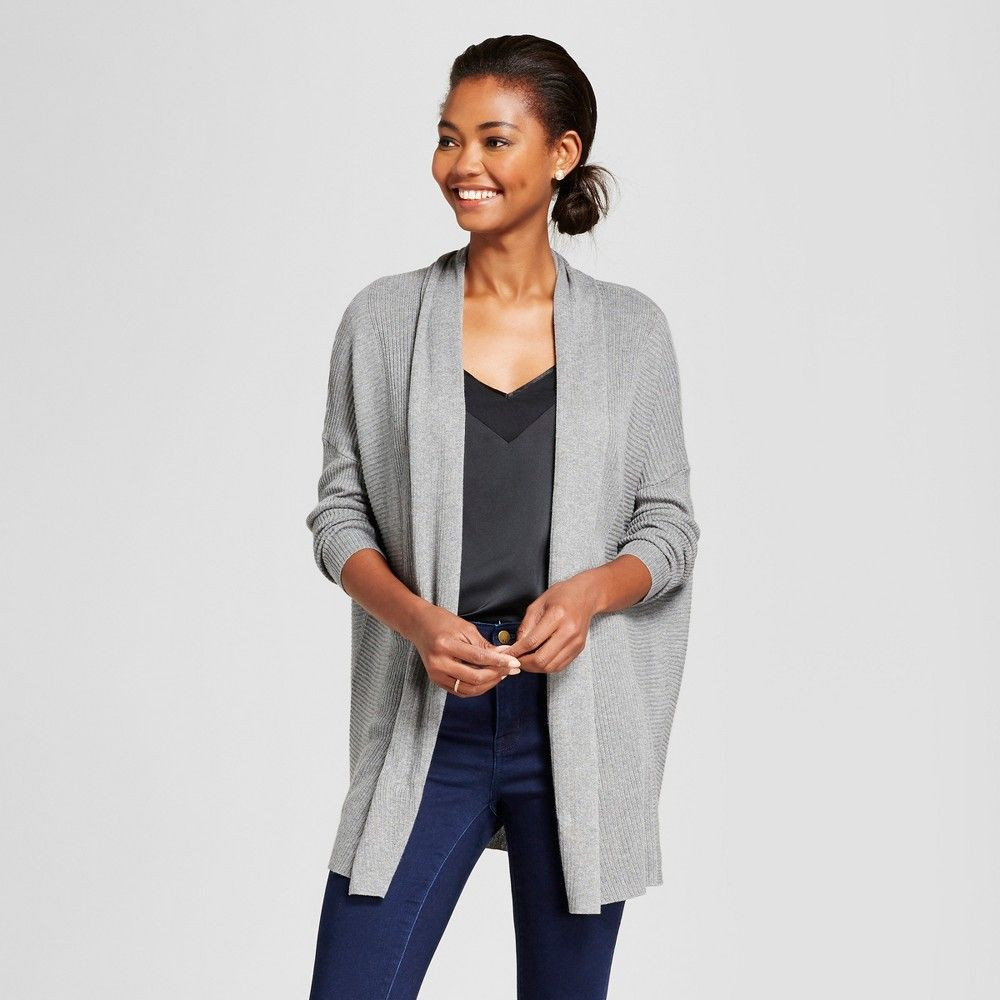 Women's Open Layering Cardigan - A New Day Gray S