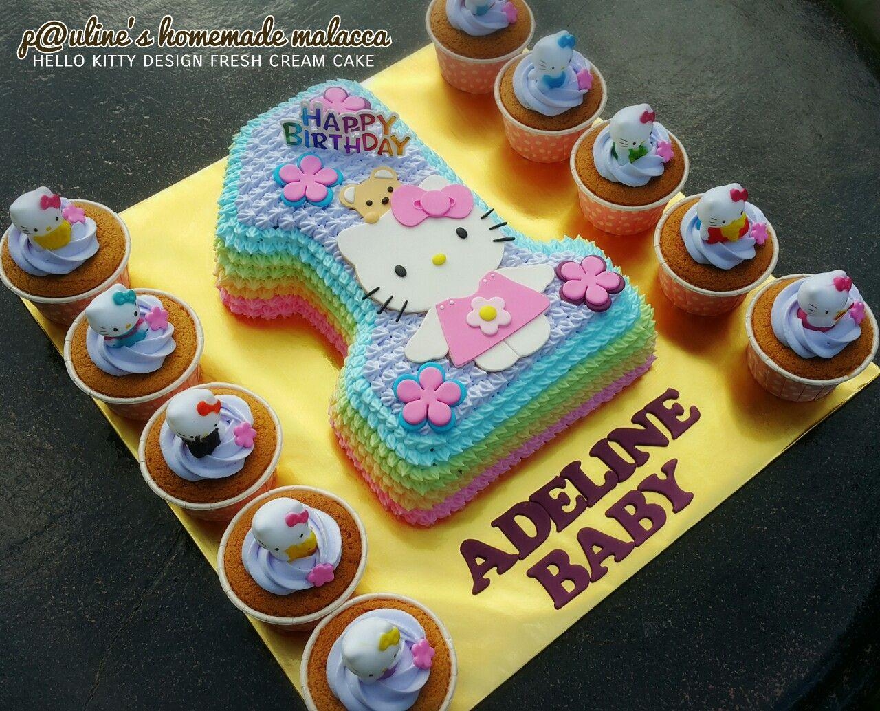Hello Kitty Happy 1st Birthday Paulineshomemademalacca Kids Cake Bakery Cakes Happy 1st Birthdays,Short Hair Design For Wedding Party