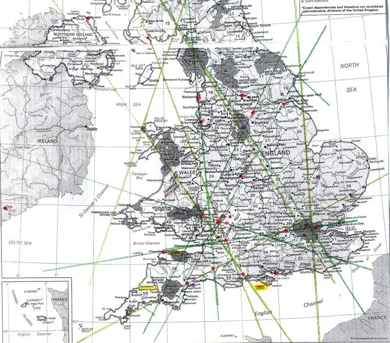 Ley Lines Map Uk Ley line maps of Britain   Ancient Mysteries & Alternative History