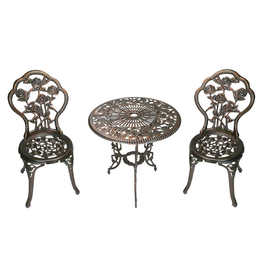 Oakland Living Tea Rose 3 Piece Antique Bronze Bistro Patio Dining Set