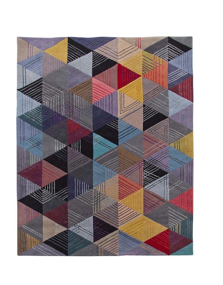 Alfombra hecha a mano rectangular de lana BLACK LOSANGE - ROCHE