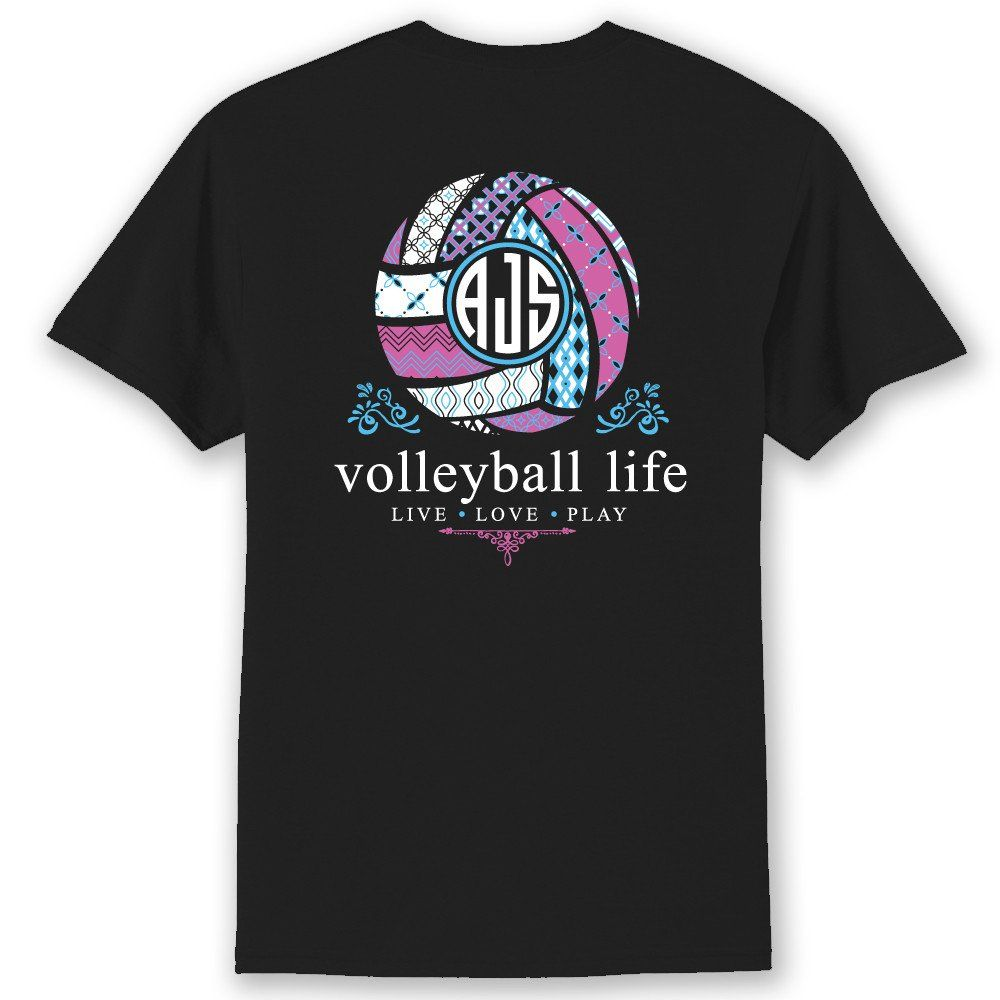Volleyball life custom monogram t shirt volleyball for Volleyball custom t shirts