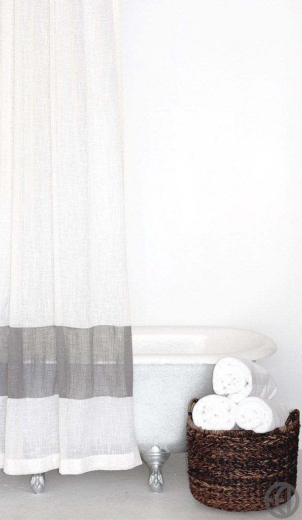 Extra Long Fabric Shower Curtain In White Or Cream With Grey Stripe