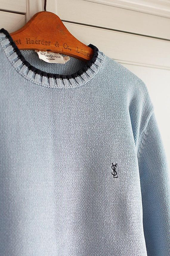 e96639ad829 Yves Saint Laurent YSL Sweater Vintage Sky Blue Retro High | Vintage ...