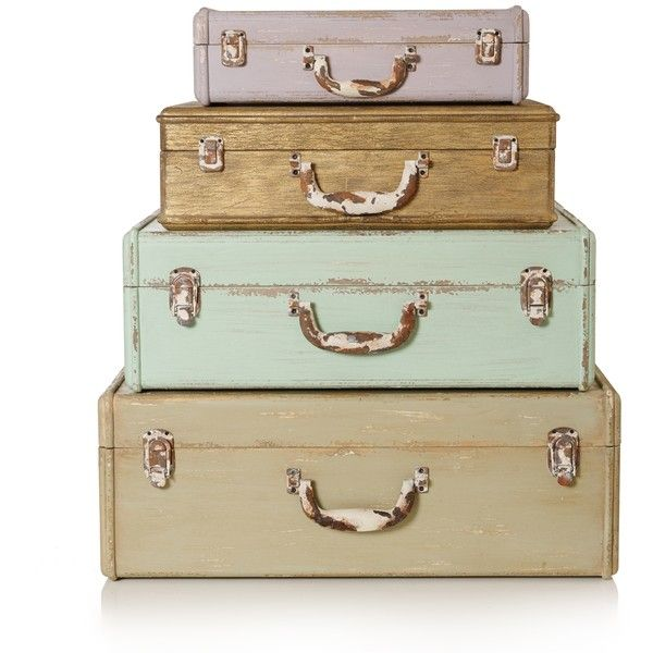 Wooden Suitcase Storage Boxes ($23) ❤ Liked On Polyvore Featuring Home,  Home Decor