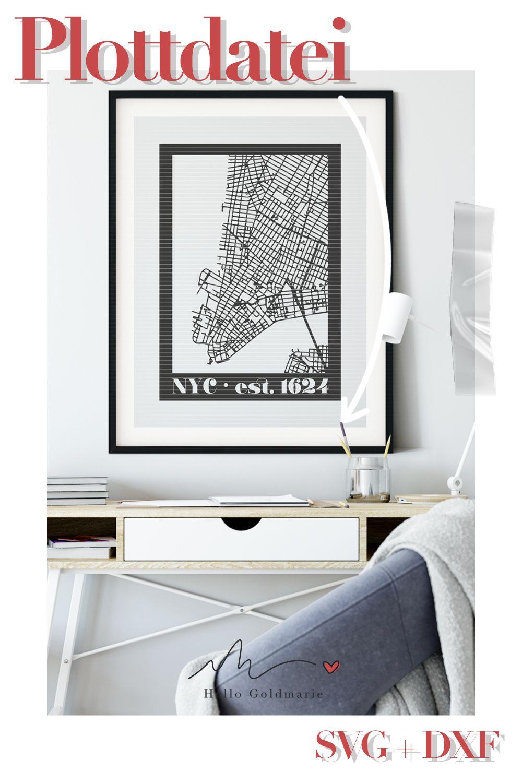 Wie genial ist das denn bitte? Der Stadtplan von Manhatten / New York zum Plotten! Nicht nur für NYC Fans, sondern für alle Freunde von coolem und schlichtem Design mit dem gewissen Etwas. Plotte dir deine Wanddeko einfach selbst! #plotten #plottern #plotterdatei #wandtattooplotten #svg #dxf #silhouettecameo #silhouetteportrait