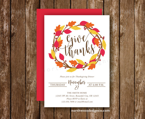 Thanksgiving Invitation Give Thanks Orange Red Rustic Dinner Invite Leaves Autumn 5x7 Digital Or Printed