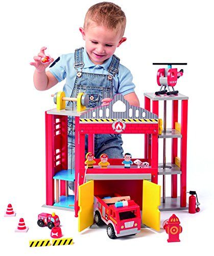 Olymptoys 91810 Large Fire Station With Toy Trucks 19 Teilige Holz Feuerwehrstation Mechanischer Lift Hubschrauberla Feuerwehrstation Feuerwehrauto Feuerwehr