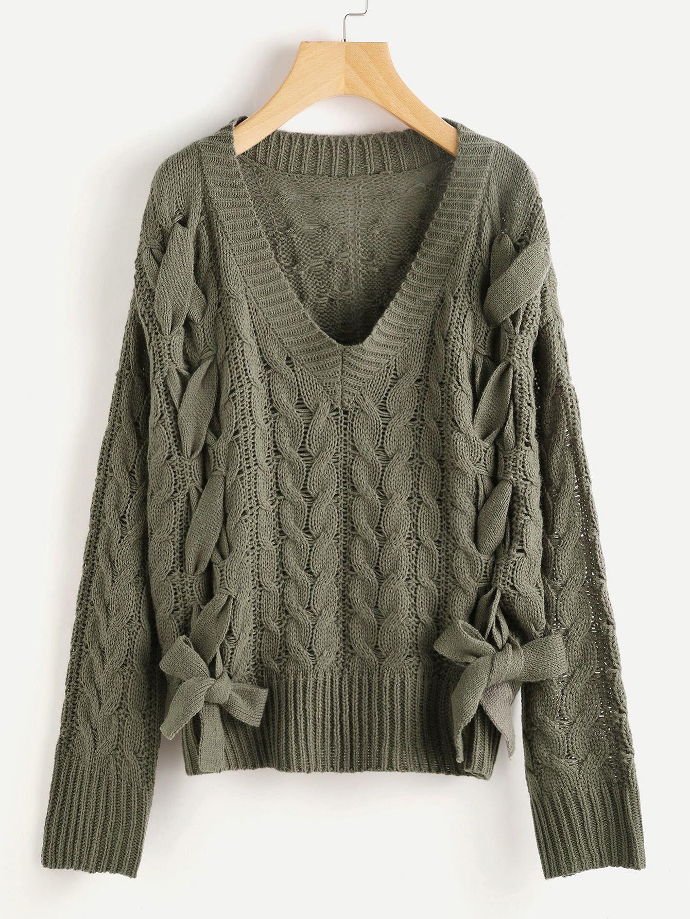 c196ce034 Shop Lace Up Cable Knit Jumper online. SheIn offers Lace Up Cable Knit  Jumper   more to fit your fashionable needs.