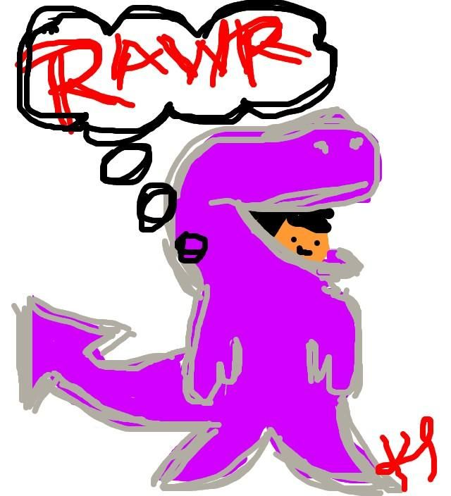 Rawr! A dinosaur by @ryepandesal on Twitter.