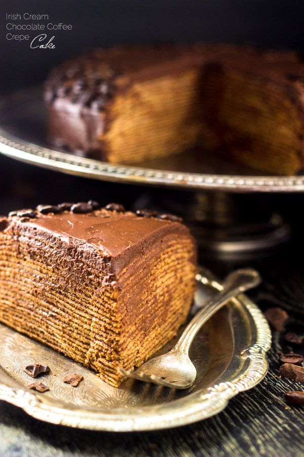 BAILEYS Chocolate Crepe Cake - A show-stopping dessert that is A LOT easier than you think!   Foodfaithfitness.com   #cake #dessert #recipe