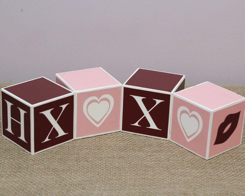 Valentine day decor photo prop love wooden blocks love hugs