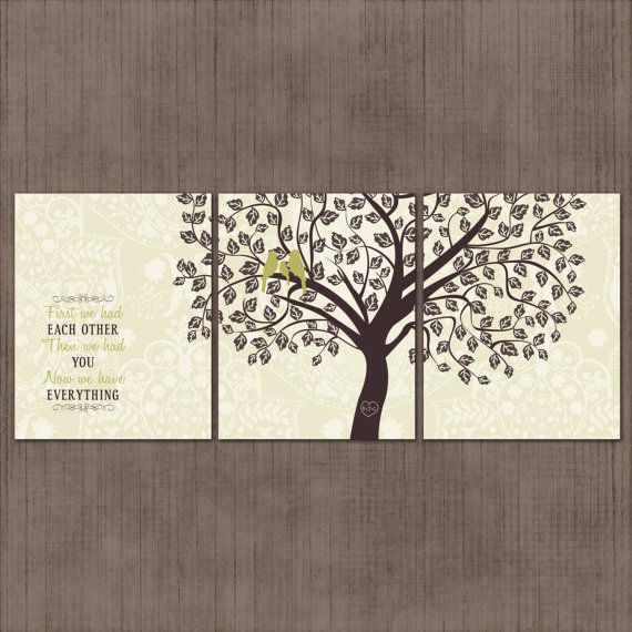 Green Wall Art nursery wall art - love birds - sage green and brown - baby or