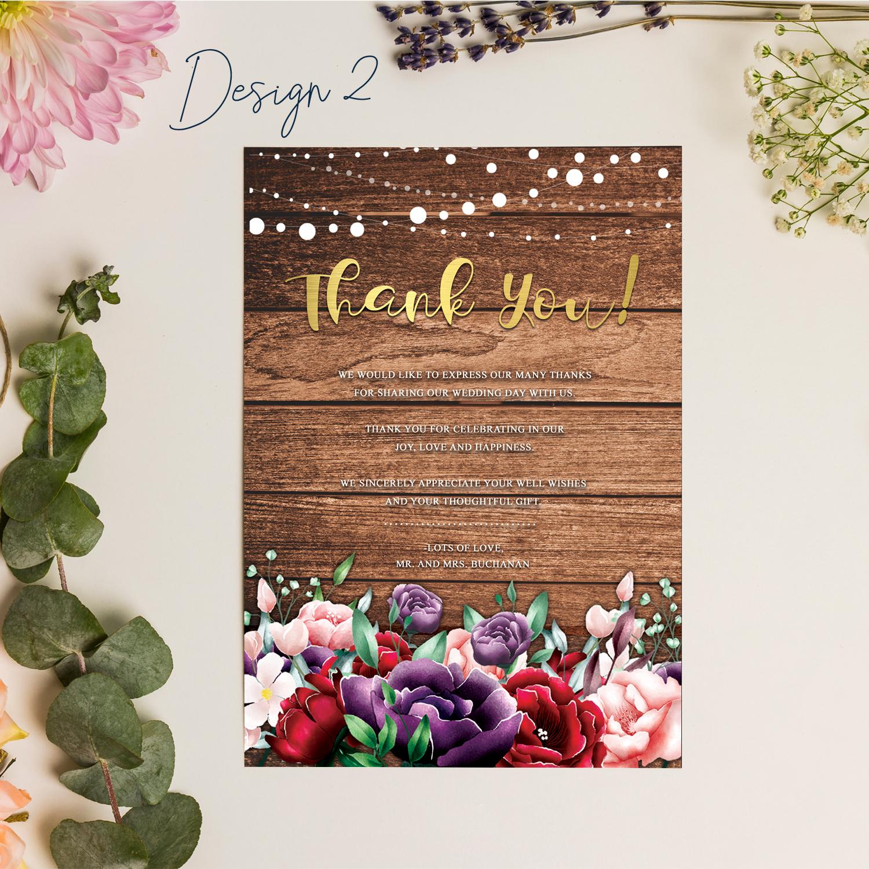 Rustic Fl Wedding Thank You Cards