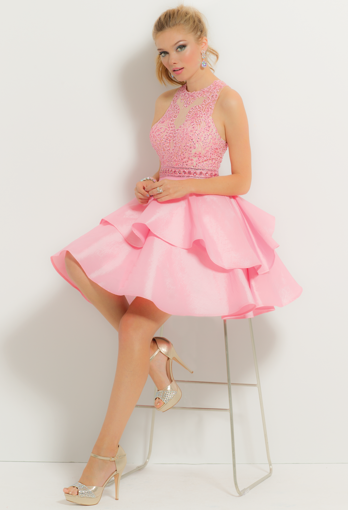 Beaded Illusion Tier Short Dress | Taffeta skirt, Illusions and Bodice