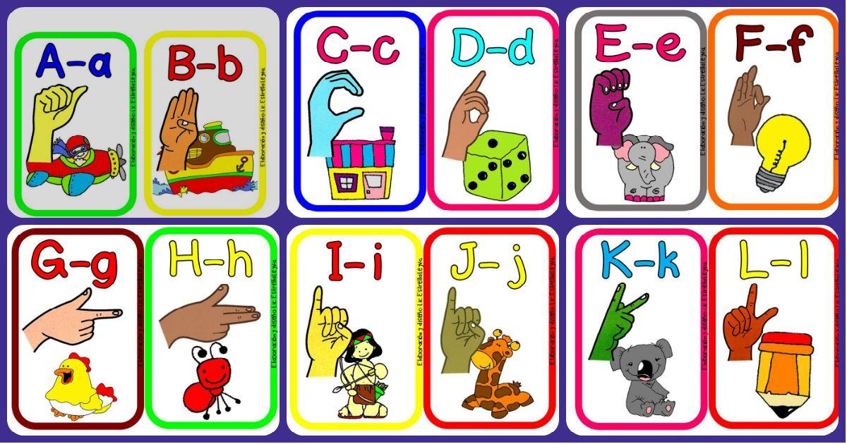 Alfabeto Ilustrado En La Lengua De Signos Para Ninos Y Ninas