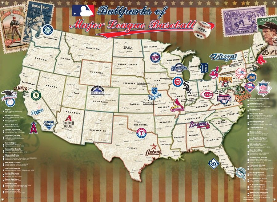 Mlb Ballpark Map 5 Down 25 More To Go Rangers Check Cubs Check White Sox Check Giants Check A S Baseball Posters Mlb Stadiums Traveling By Yourself