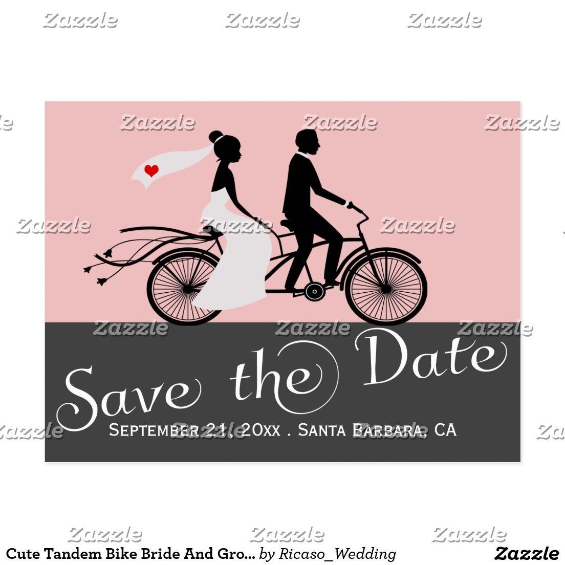 Cute Tandem Bike Bride And Groom Wedding Announcement Postcard ...