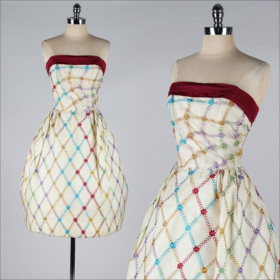 vintage 1950s strapless dress . embroidered