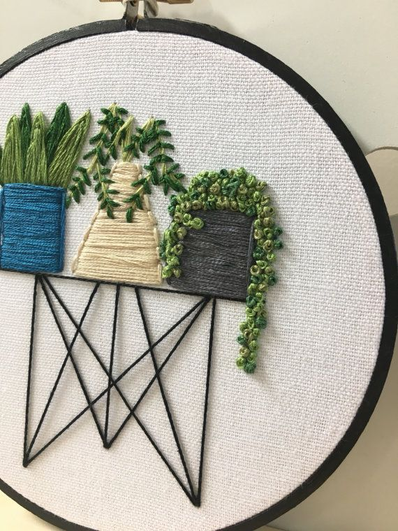 Items similar to Succulent in wire stand embroidery wire stand , succulent , pot plant , hoop art cactus art on Etsy