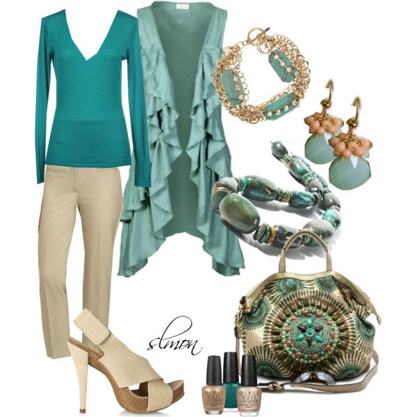 """Caterina"" by salmon on Polyvore Looking at other people's Polyvore creations. #newyearstylechallenge I love the colors of course. I'm intrigued by that jacket and would love to see how it looks on. But really, it's that purse that needs to come home and live with me. I think with all that green and white, there's a need for a little darker chocolate brown or rusty orange."