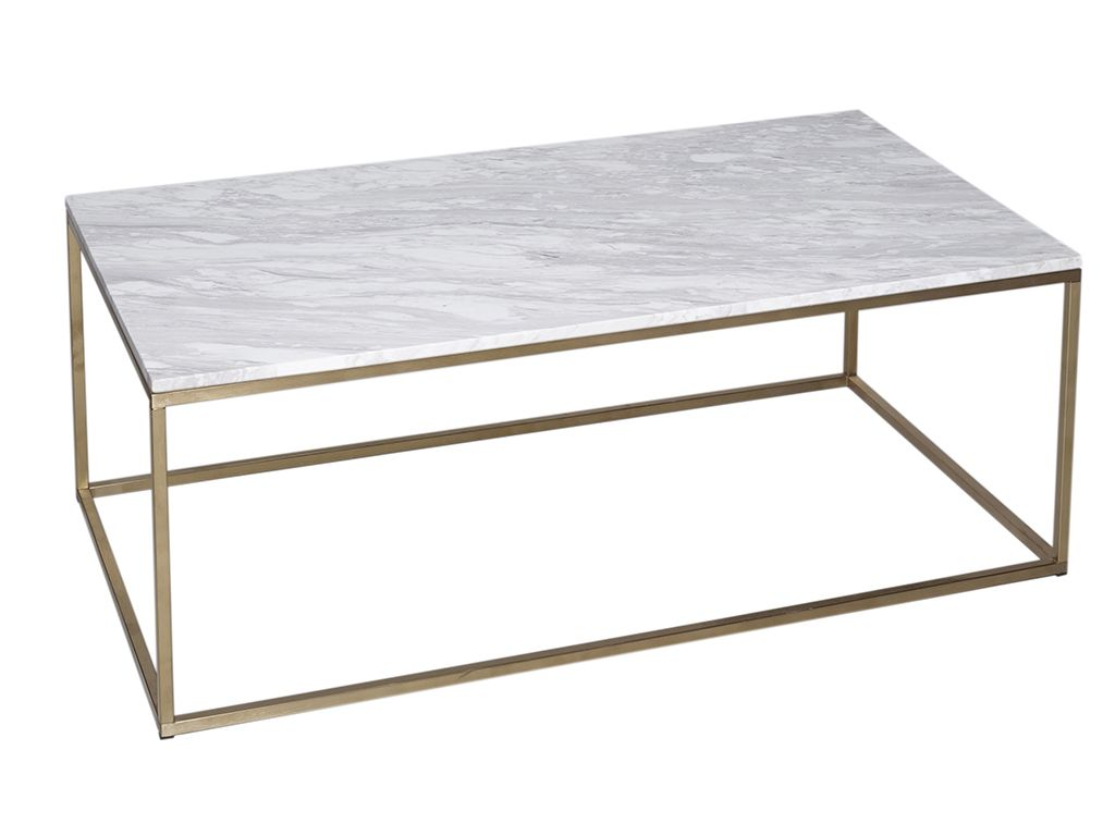 Rectangle Coffee Table - Kensal MARBLE with BRASS base - Rectangle ...
