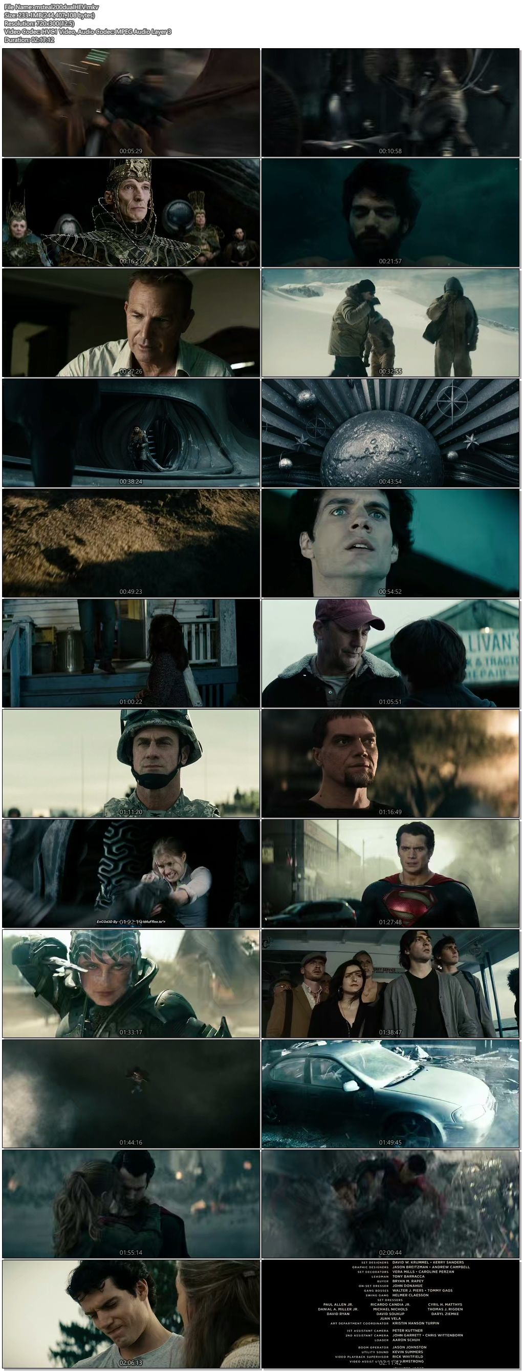 Screen Shot Of Man of Steel 2013 Hindi Dual Audio 200MB BRRip HEVC Movies  MKV