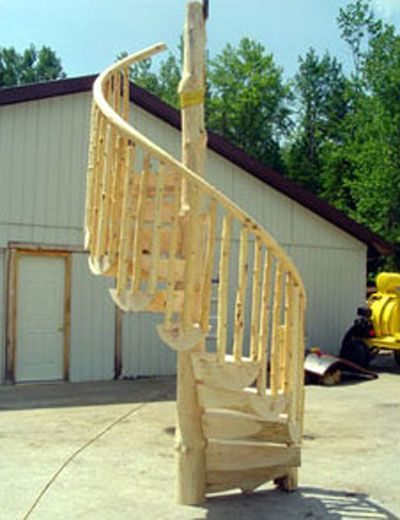 Custom Spiral Staircases   Wood Spiral Stair Kits By Log Stair Systems