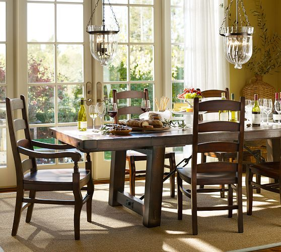 Pottery Barn Dining Room Set: Benchwright Extending Table & Wynn Chair Set