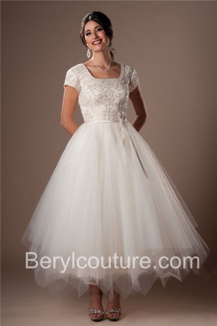 Modest Ball Gown Square Neckline Tea Length Satin Tulle Embroidery ...