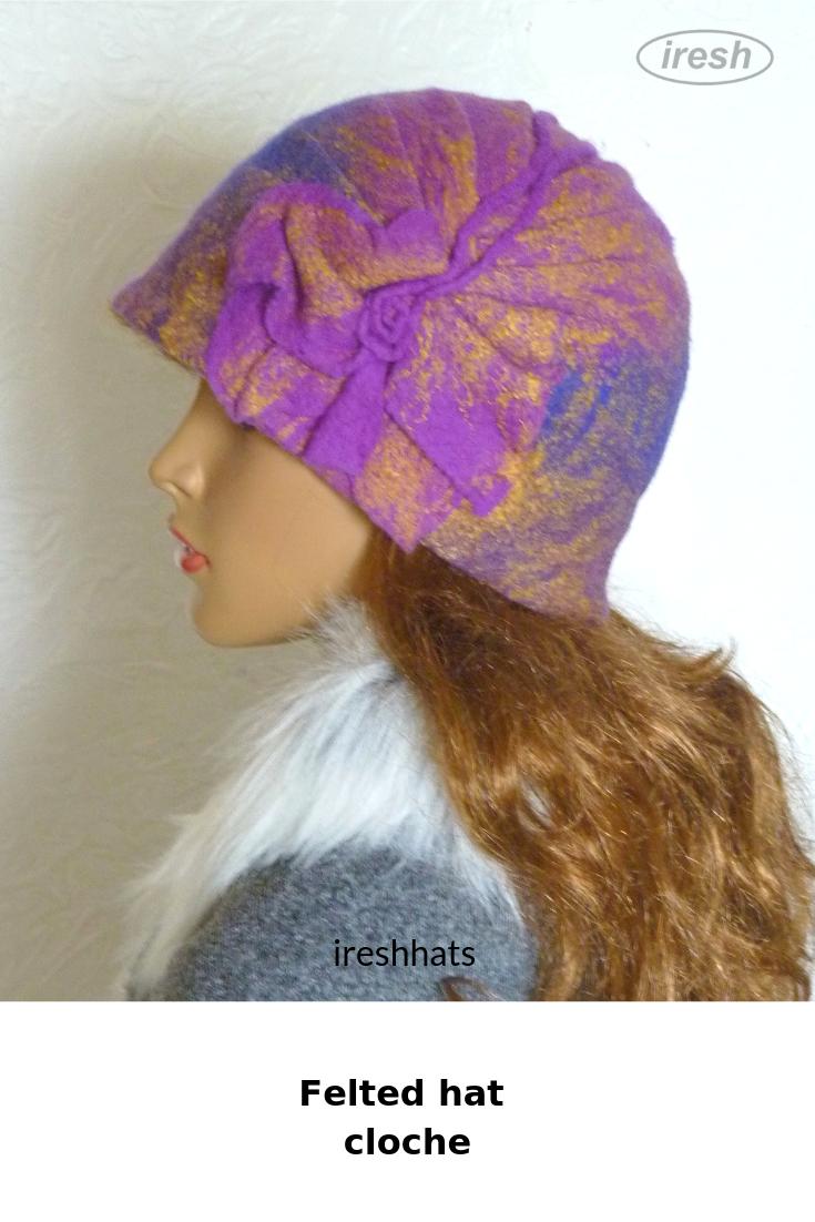 10305260 Winter women's hat. Felted hat cloche. Lilac hat. Wool hat. | Felted ...