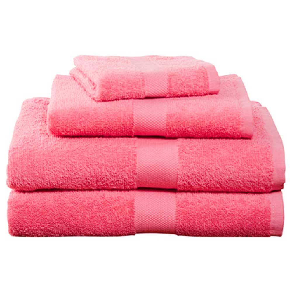 Deep Pink Four-Piece Cotton Towel Set   Dorm Bedding and Bath ...