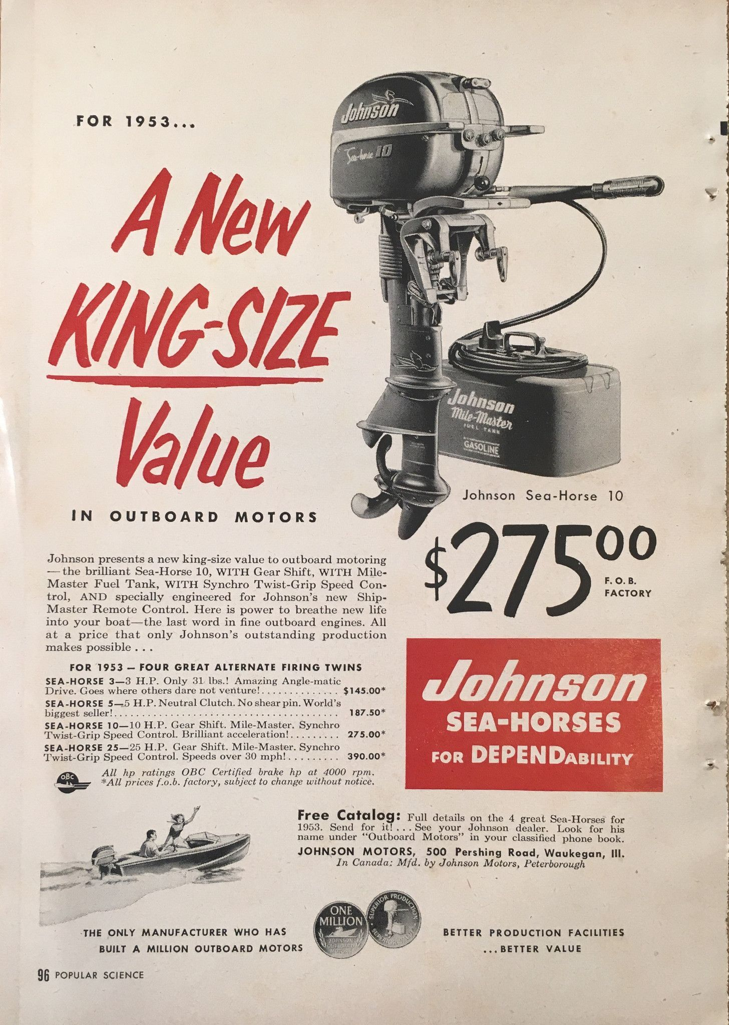 1953 johnson outboard motors vintage magazine ad from popular science [ 1456 x 2048 Pixel ]
