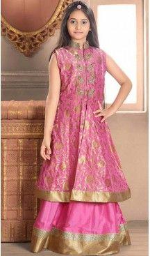 516f0211dd0 Rose Pink Color Taffeta Jacquard Fabric Readymade Kids Girl Lehenga Choli